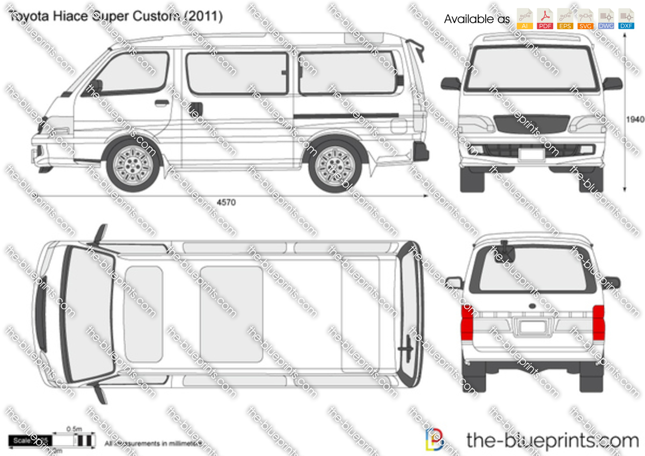 Toyota Hiace Super Custom Vector Drawing