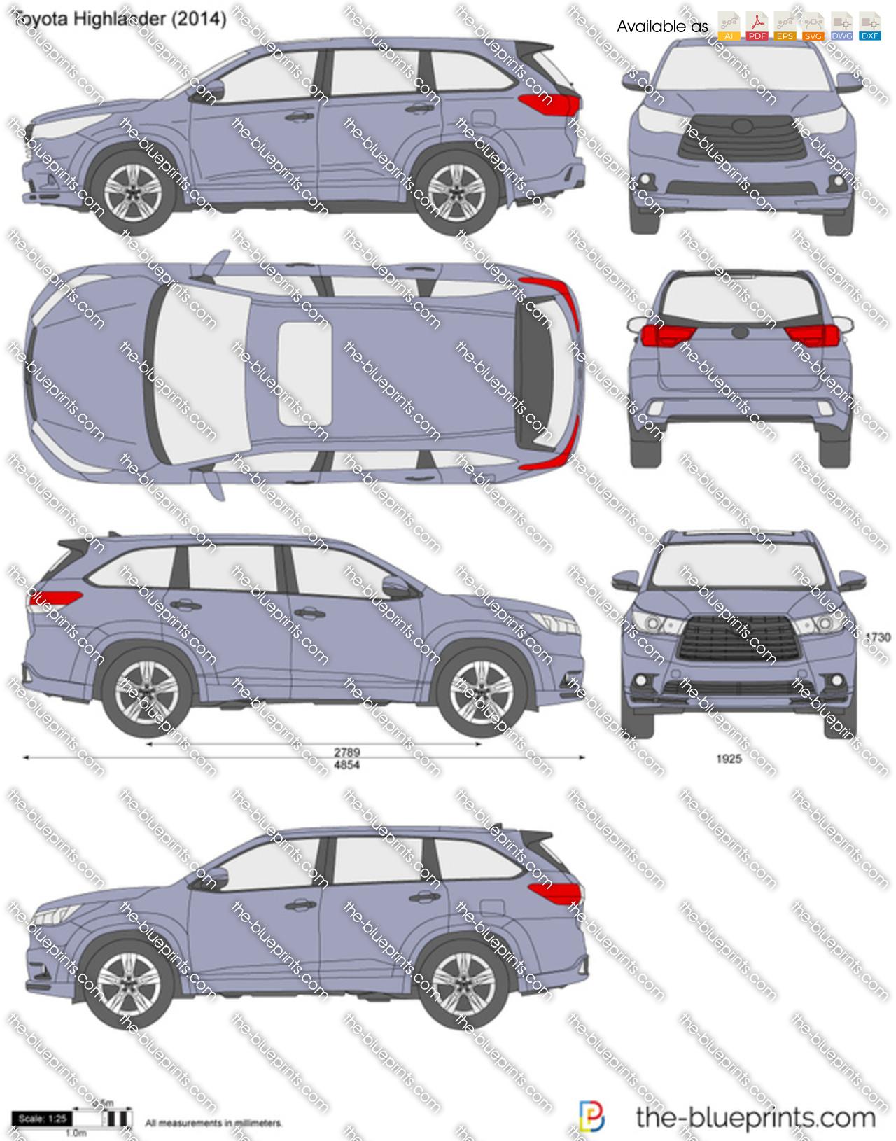 2013 Toyota Highlander For Sale >> The-Blueprints.com - Vector Drawing - Toyota Highlander