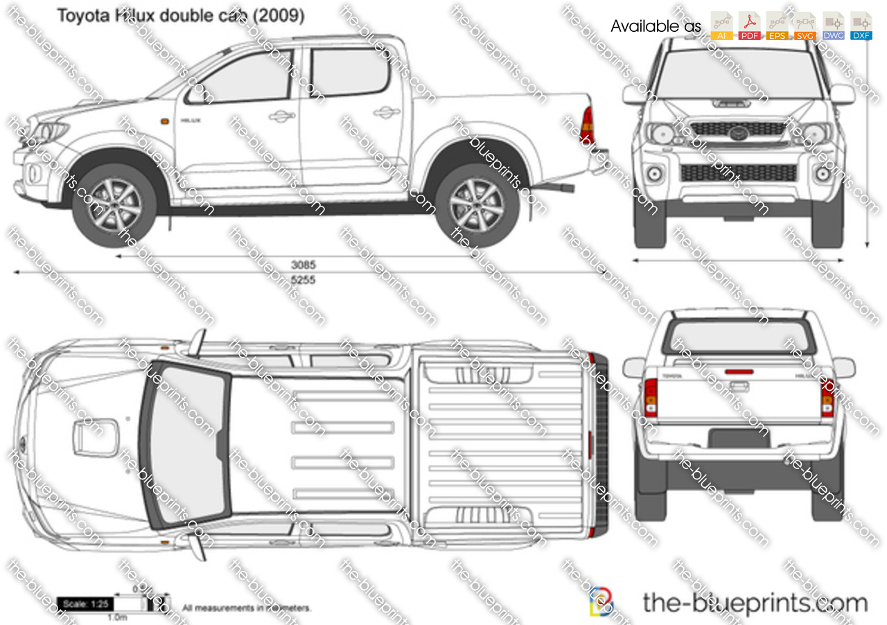 toyota hilux 4x4 double cab vector drawing