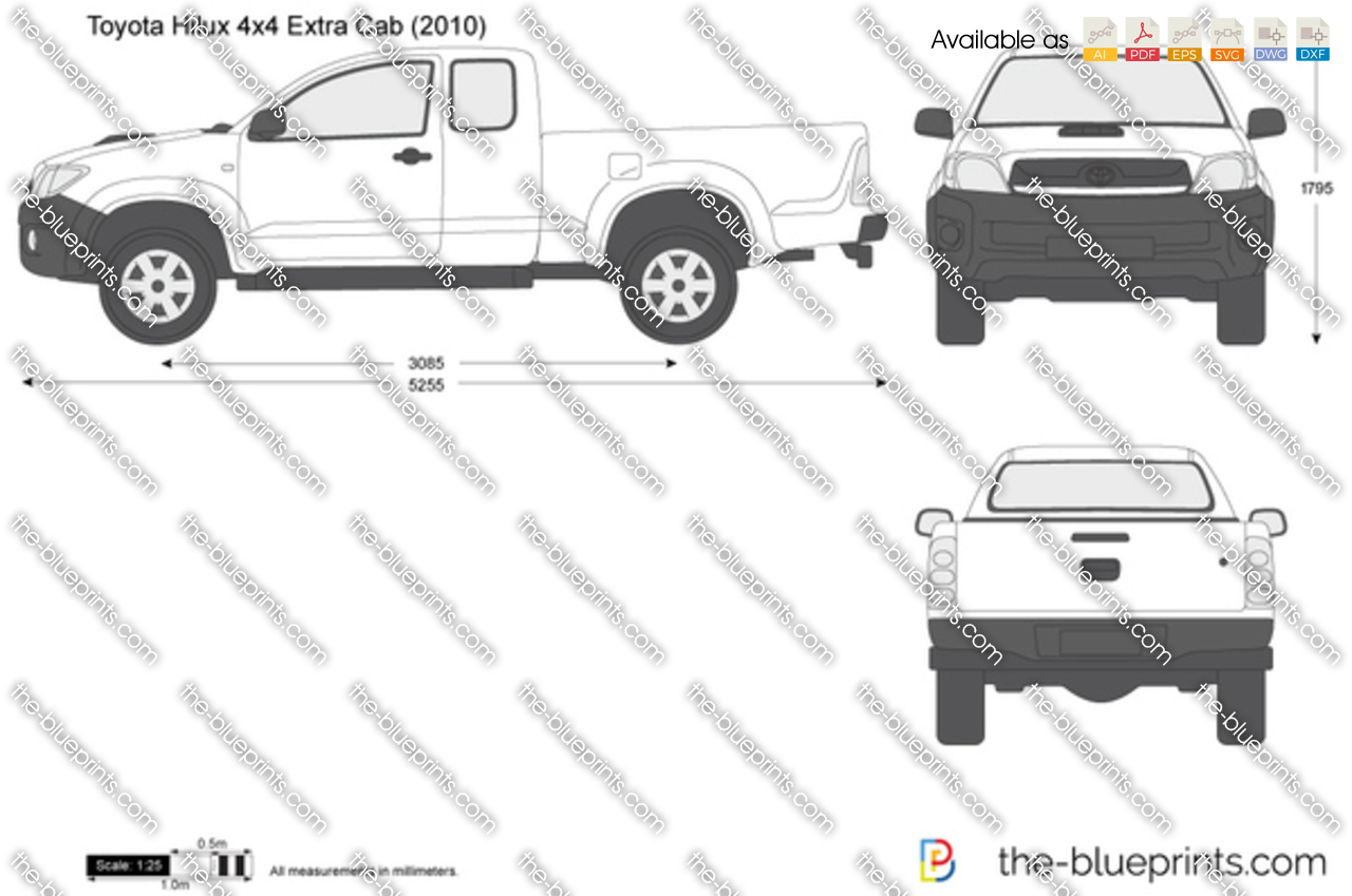 toyota hilux 4x4 extra cab vector drawing. Black Bedroom Furniture Sets. Home Design Ideas