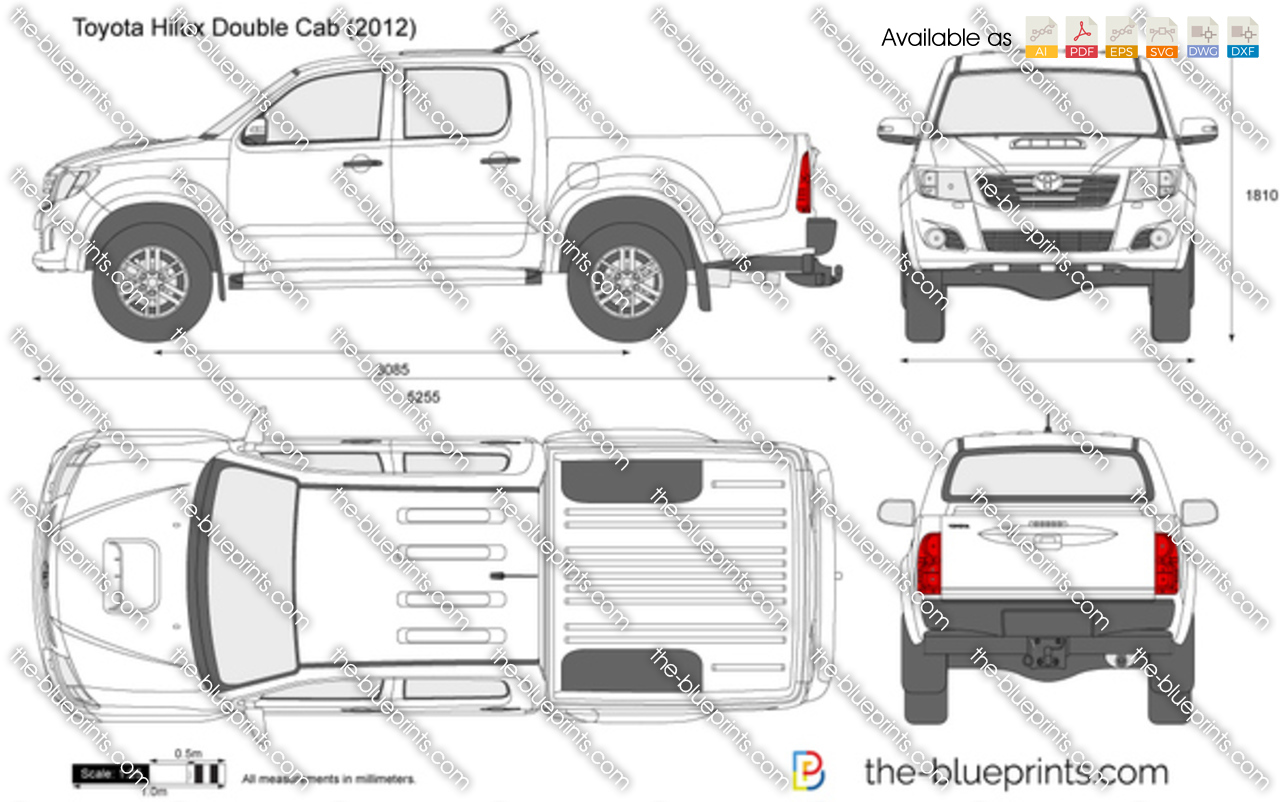 Toyota hilux double cab vector drawing for Blueprint sizes