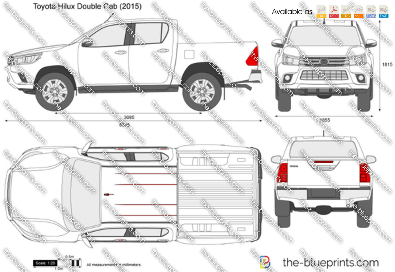 toyota hilux double cab vector drawing