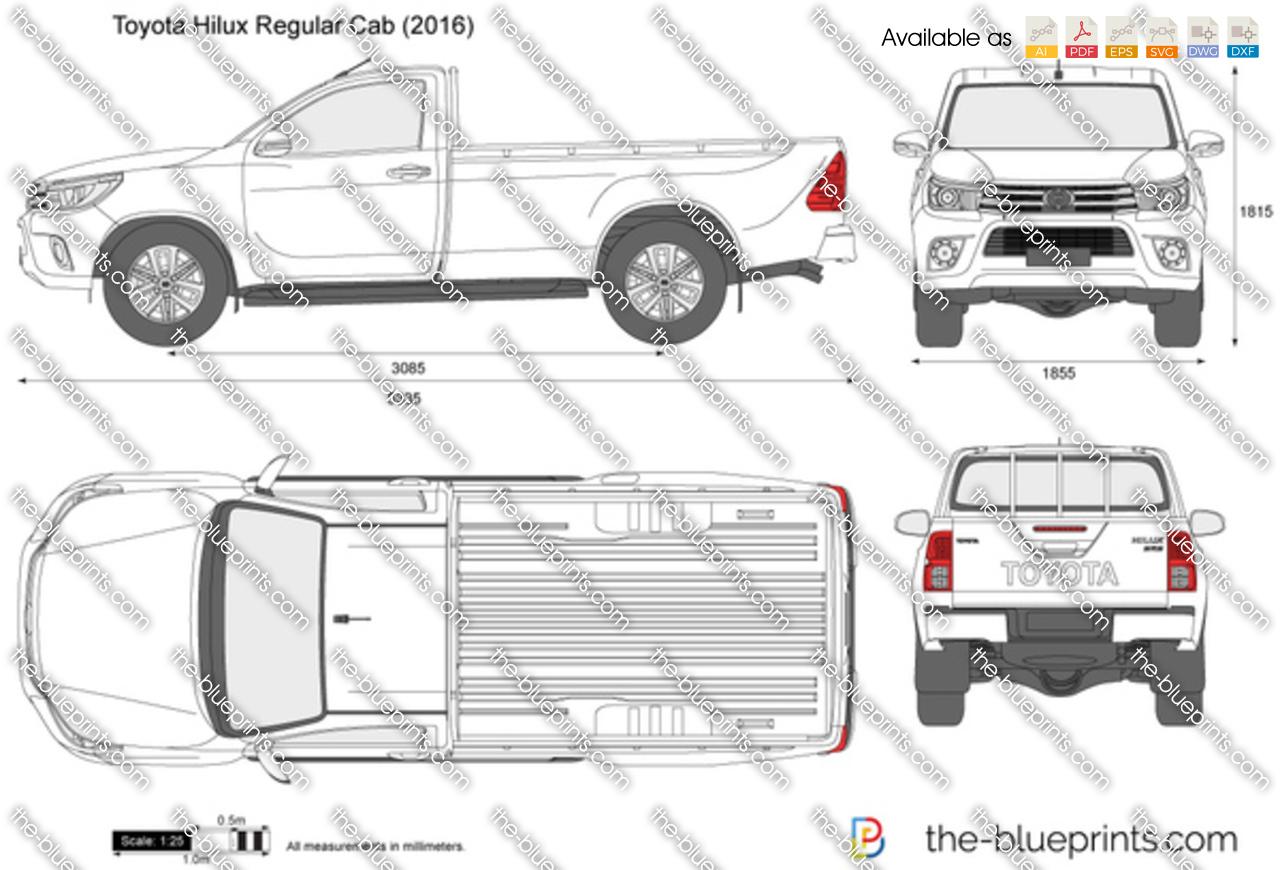 Free Hilux Blueprints: Toyota Hilux Regular Cab Vector Drawing