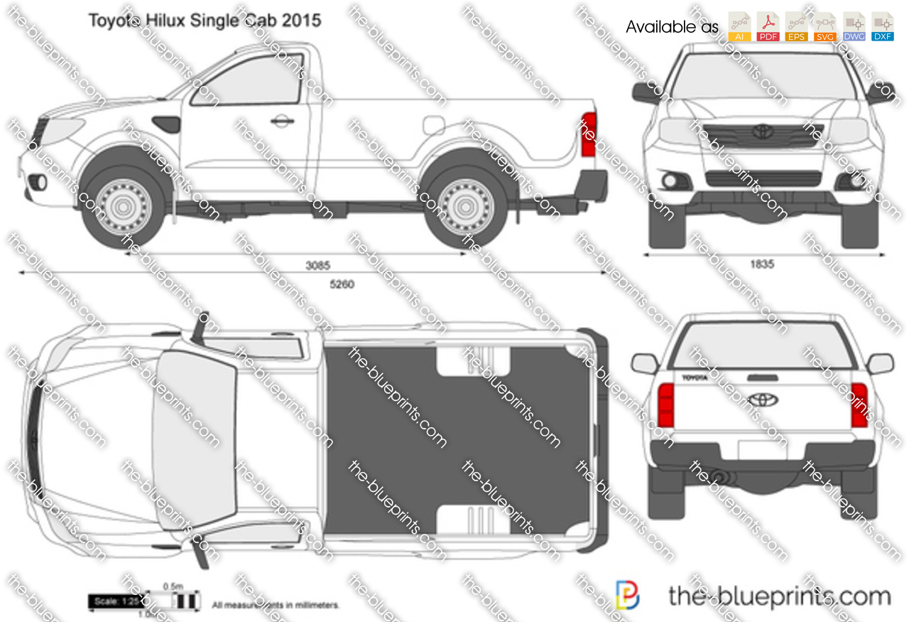 The-Blueprints.com - Vector Drawing - Toyota Hilux Single Cab