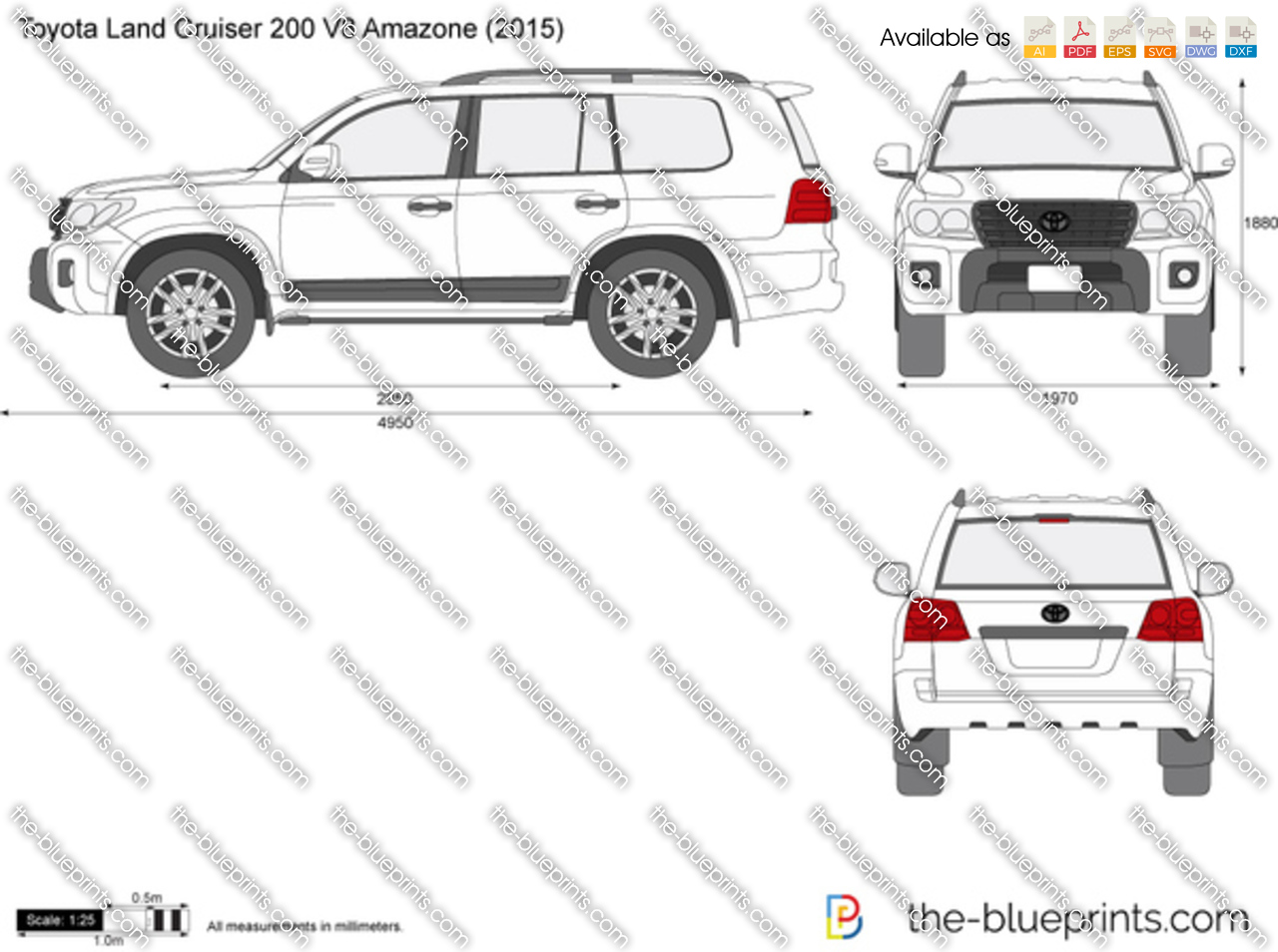 toyota land cruiser 200 v8 amazone vector drawing