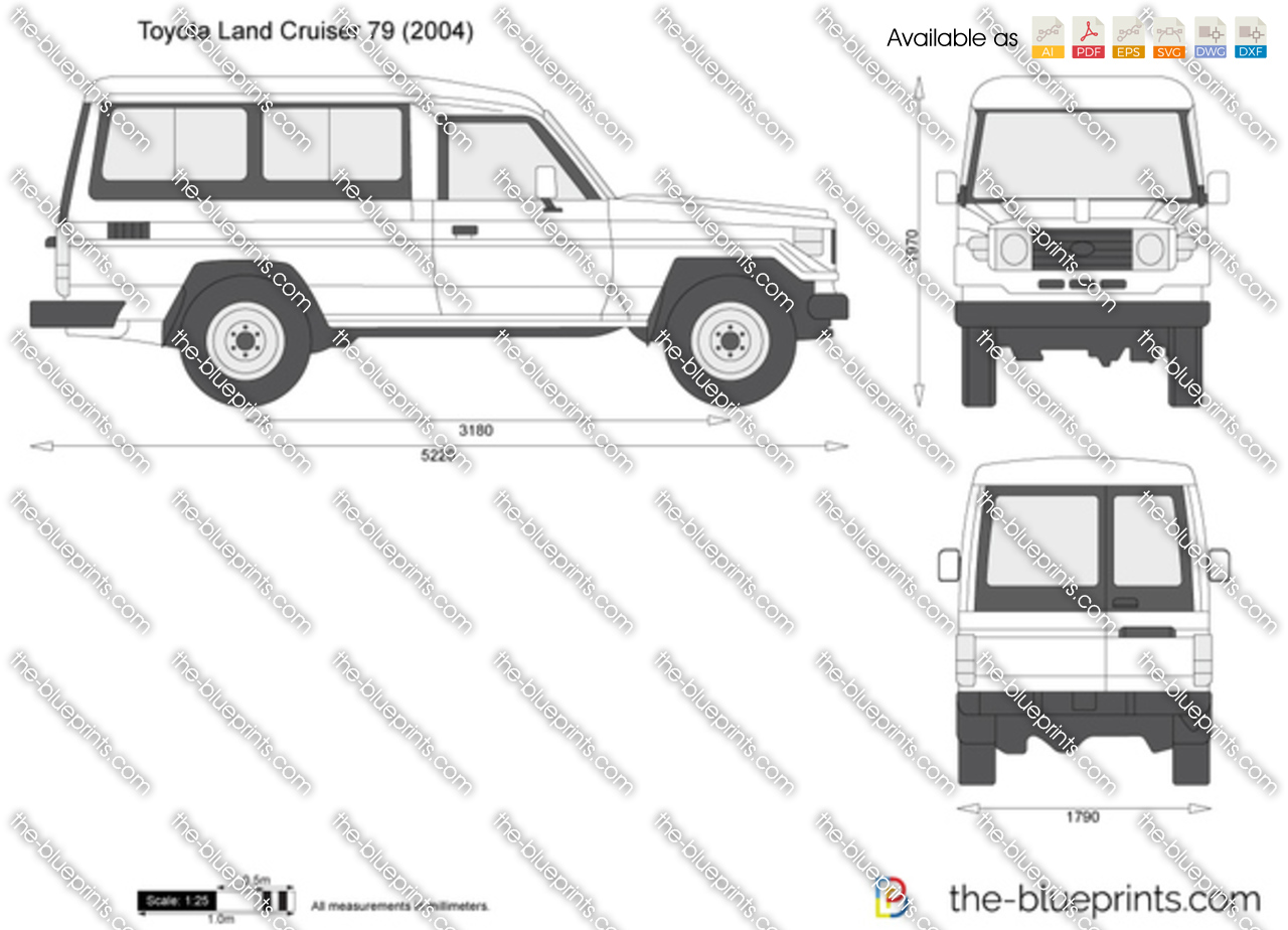 toyota land cruiser 79 vector drawing