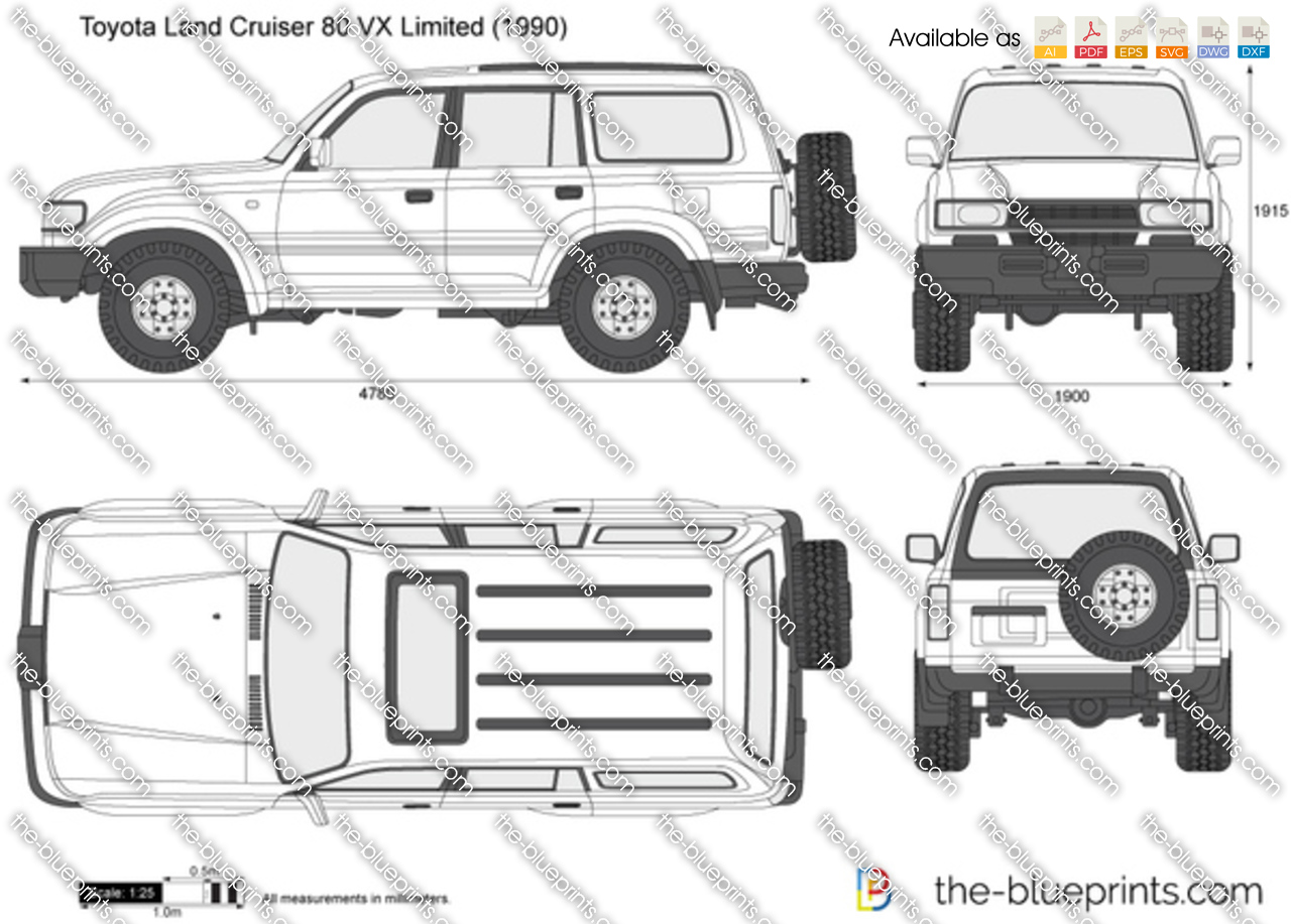 toyota land cruiser 80 vx limited vector drawing
