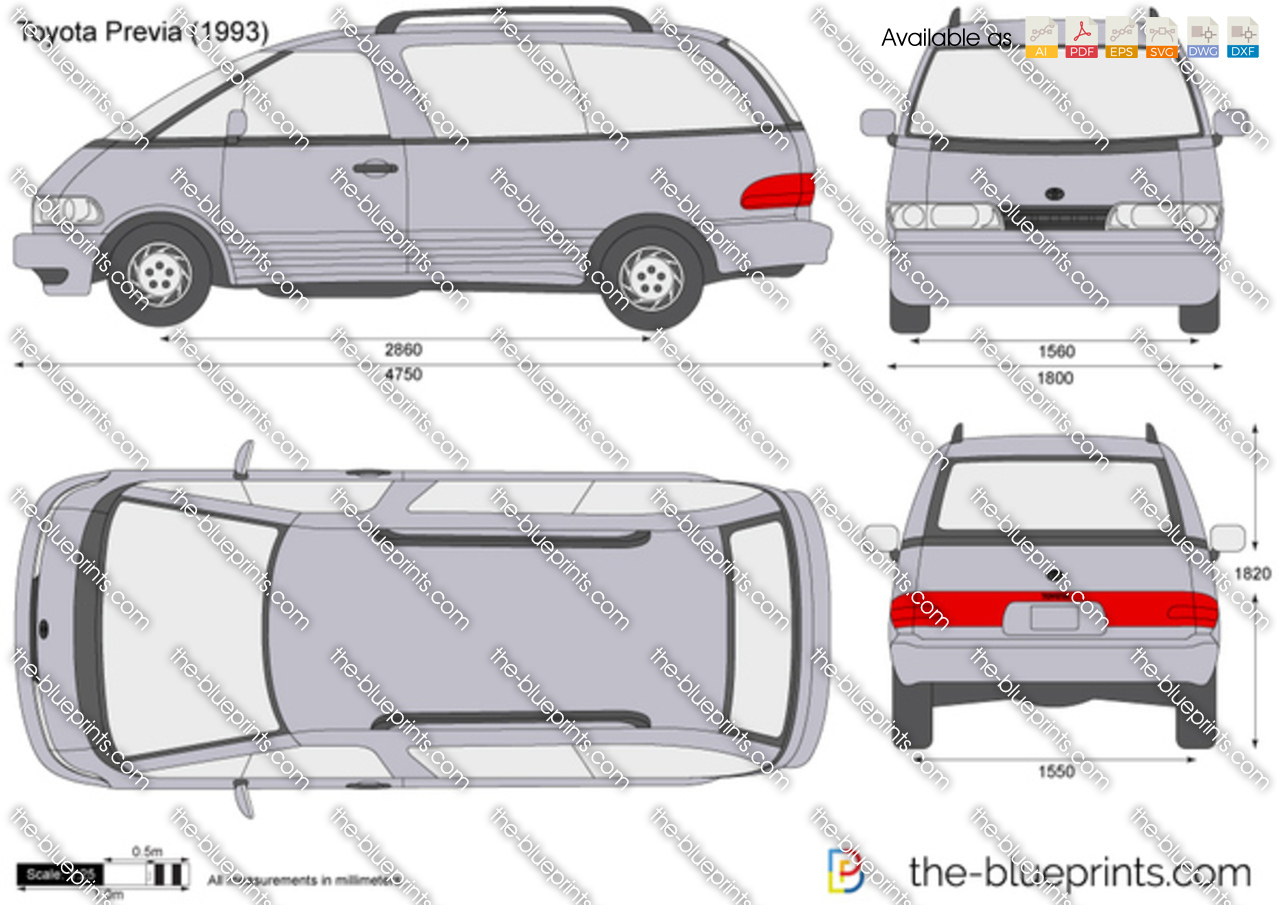 the vector drawing toyota previa. Black Bedroom Furniture Sets. Home Design Ideas