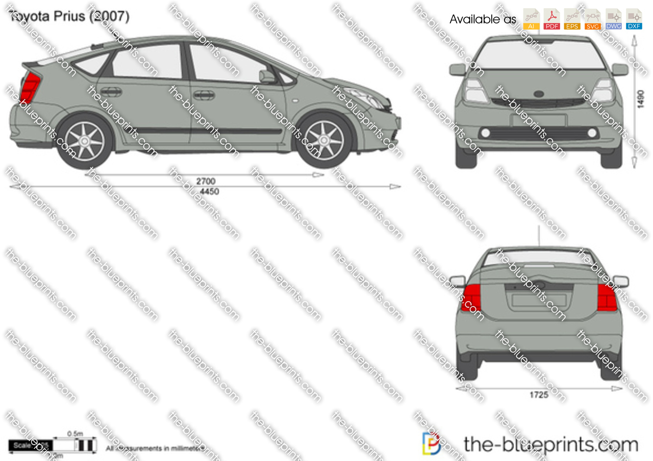 Toyota Prius Vector Drawing