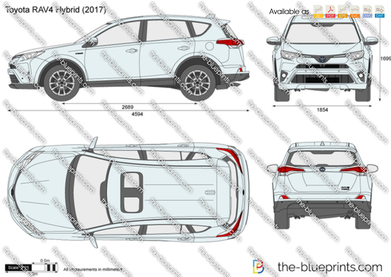 Toyota RAV4 Hybrid vector drawing