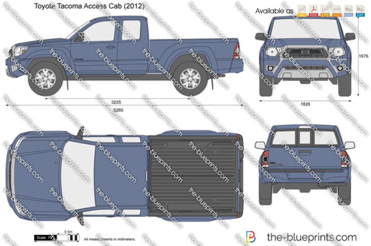 toyota tacoma access cab vector drawing. Black Bedroom Furniture Sets. Home Design Ideas