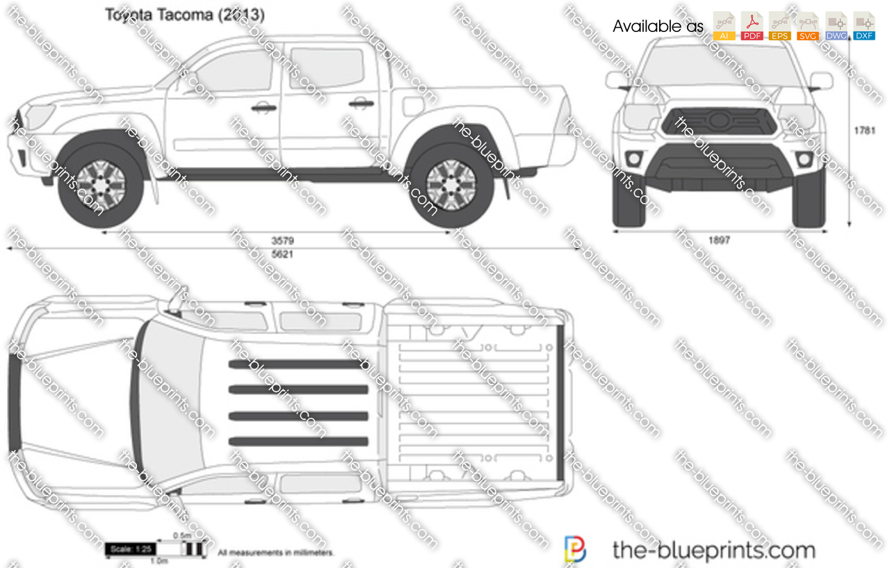 toyota tacoma double cab vector drawing
