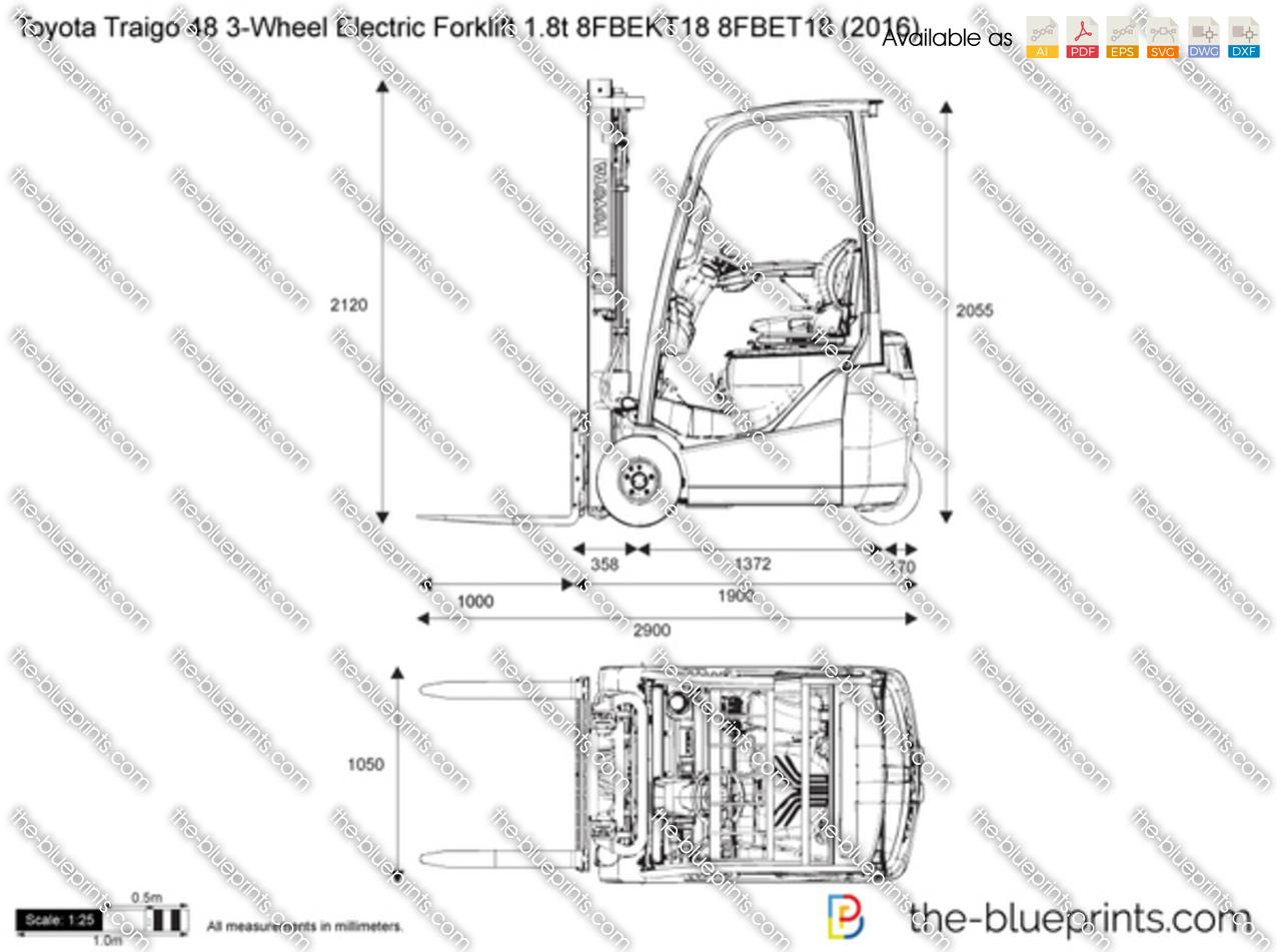 Toyota Traigo 48 3-Wheel Electric Forklift 1.8t 8FBEKT18 8FBET18