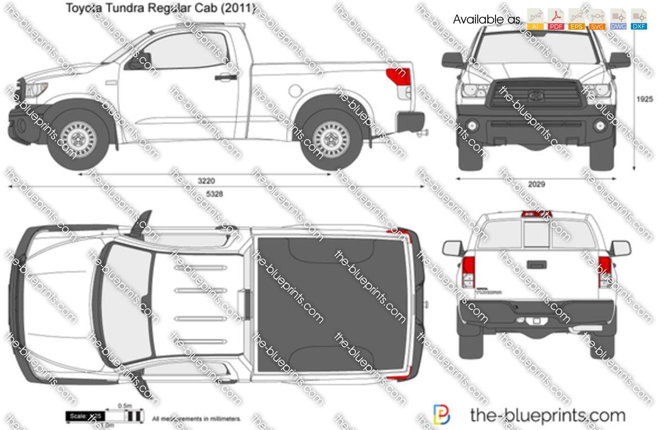 Free Hilux Blueprints: Toyota Tundra Regular Cab Vector Drawing