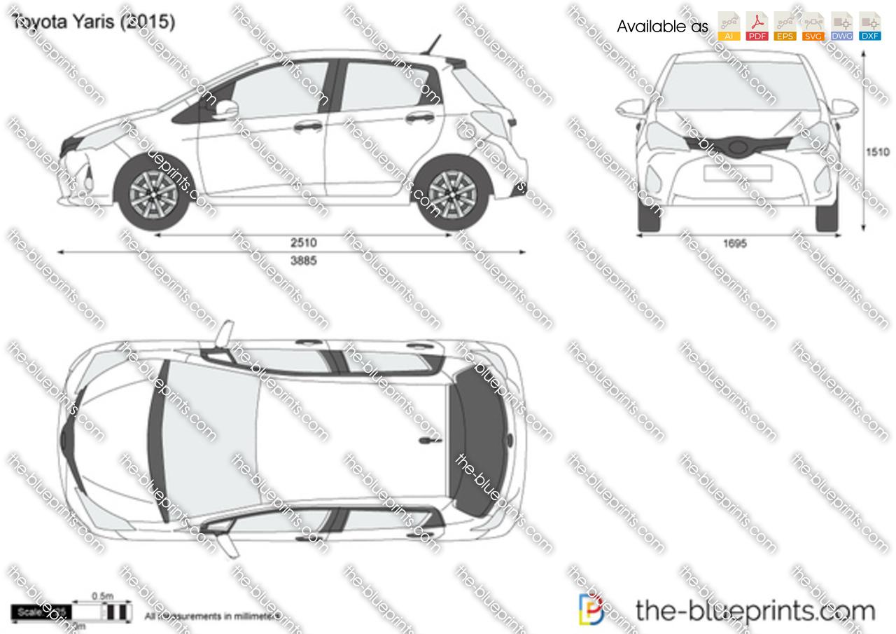 Toyota Yaris Vector Drawing