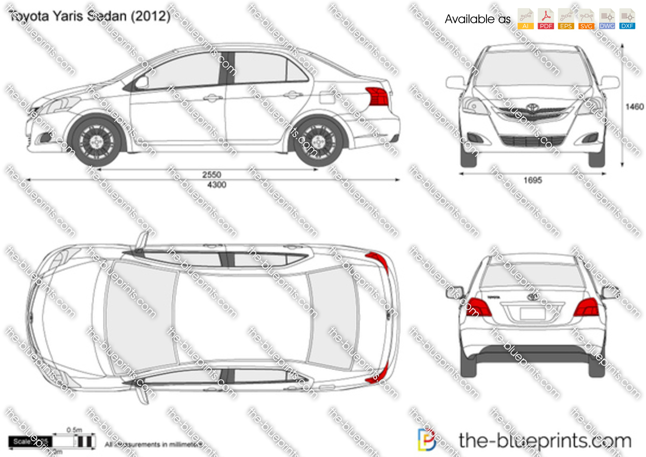 Toyota Yaris Sedan Vector Drawing