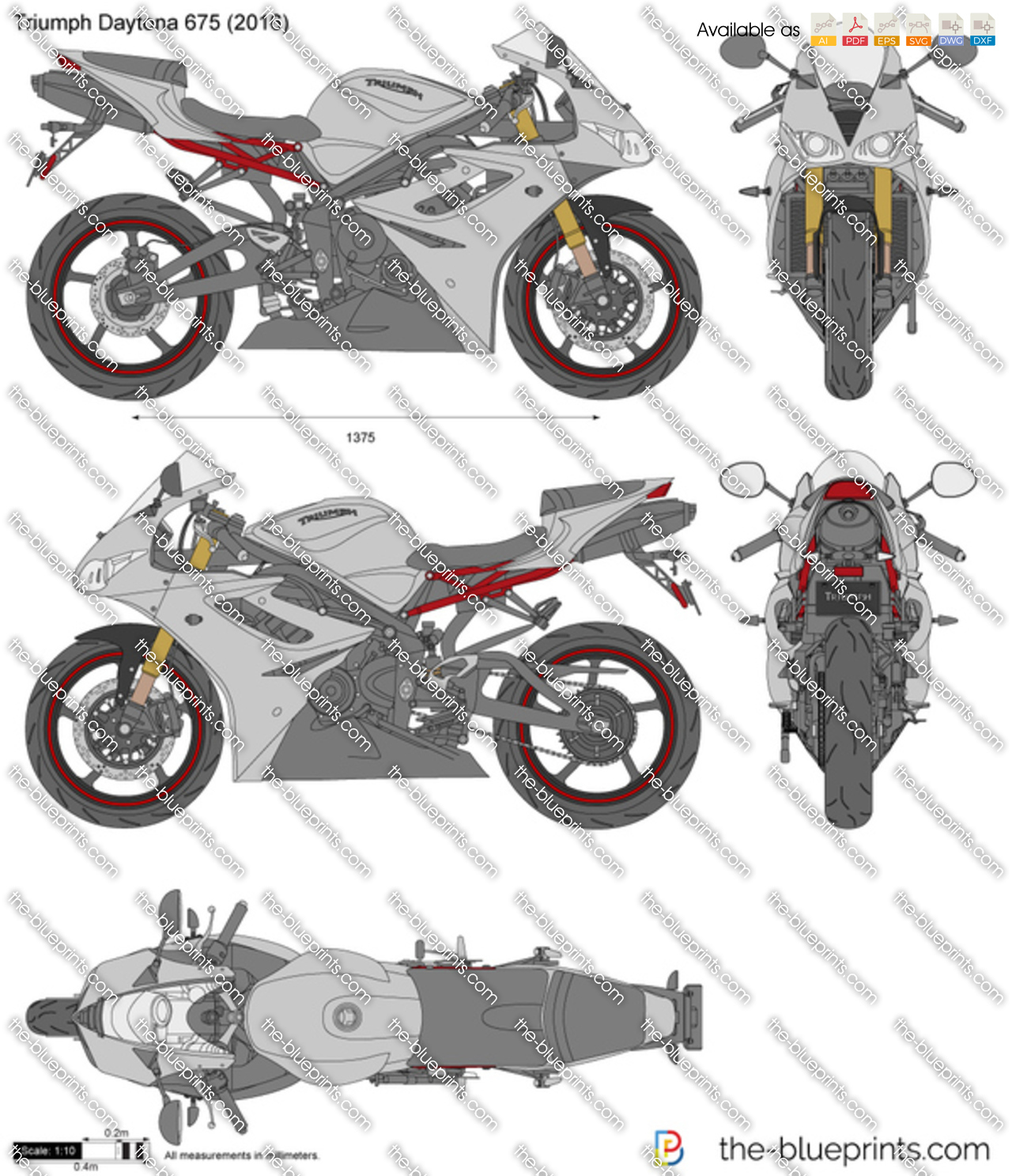 triumph daytona 675 vector drawing. Black Bedroom Furniture Sets. Home Design Ideas