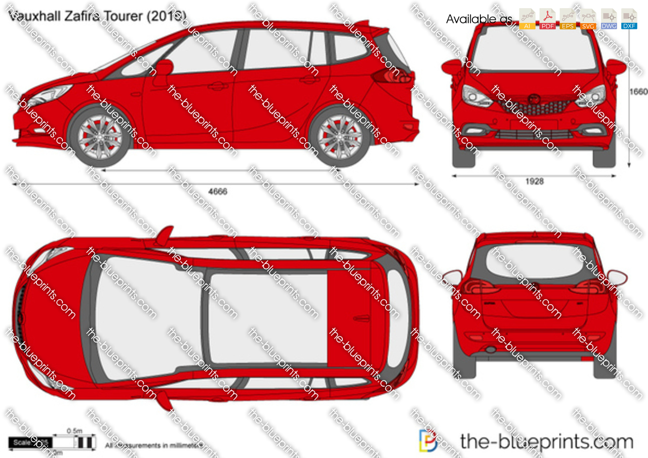 Vauxhall Zafira Tourer Vector Drawing