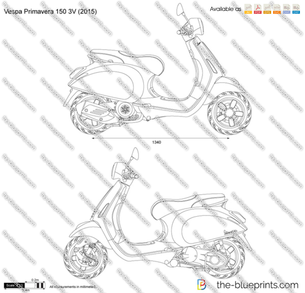 vespa primavera 150 3v vector drawing