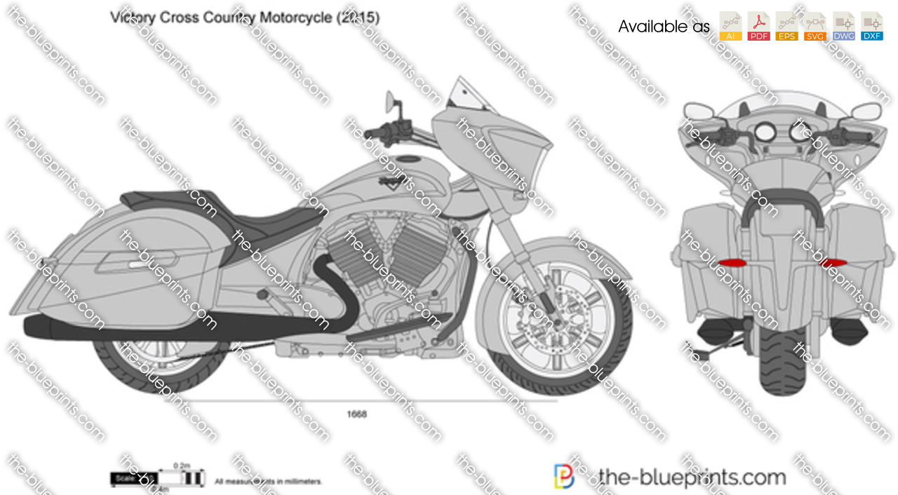 victory cross country motorcycle vector drawing