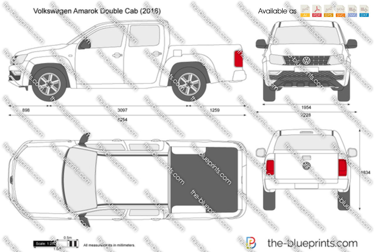 Kuga Dimensions >> Volkswagen Amarok Double Cab vector drawing