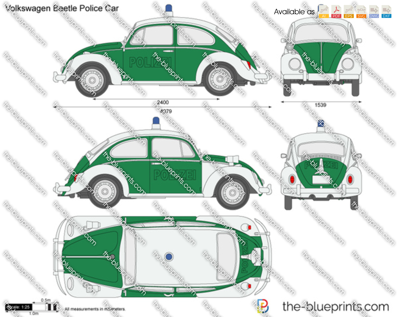 The blueprints vector drawing volkswagen beetle police car malvernweather Image collections