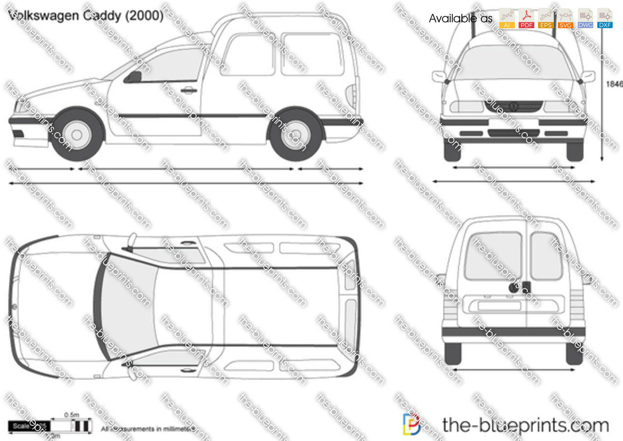 volkswagen caddy vector drawing