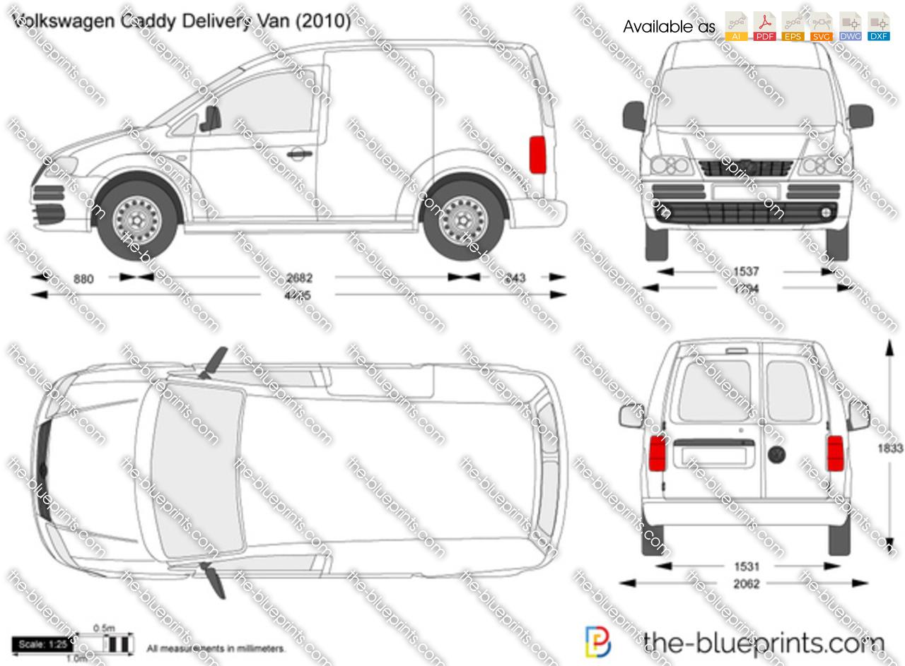 volkswagen caddy delivery van vector drawing