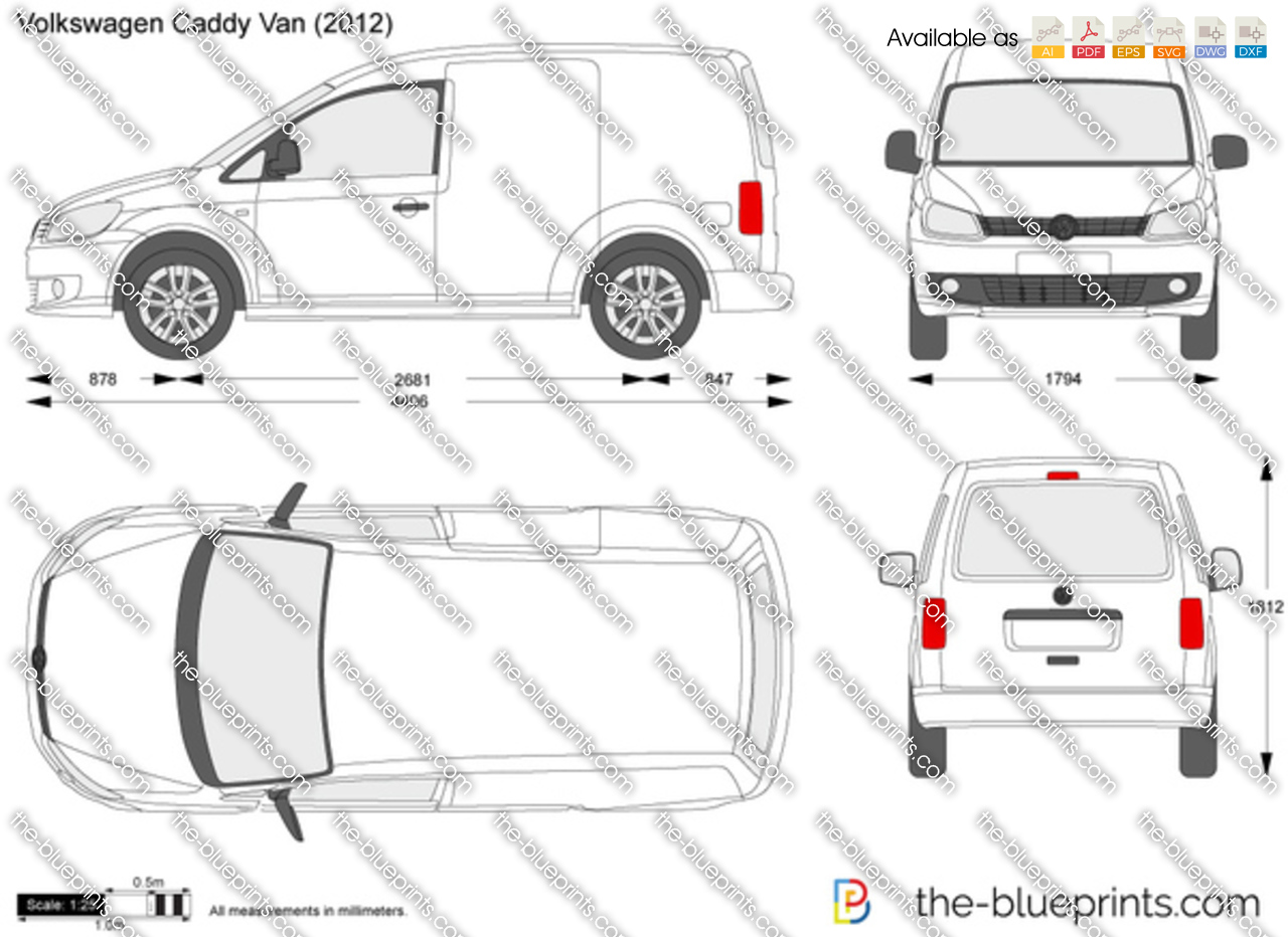 volkswagen caddy van vector drawing
