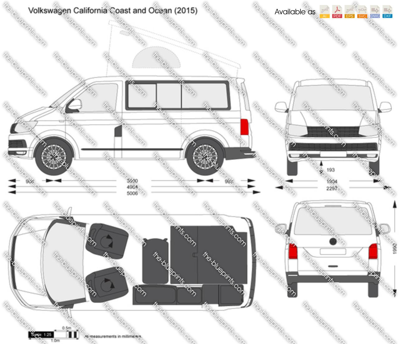 volkswagen california coast and ocean vector drawing