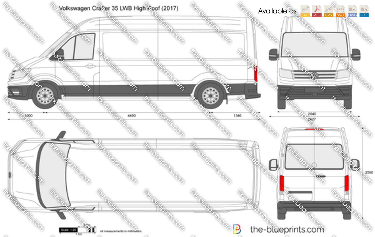 Blueprint Drawer Online Volkswagen Crafter 35 Lwb High Roof Vector Drawing
