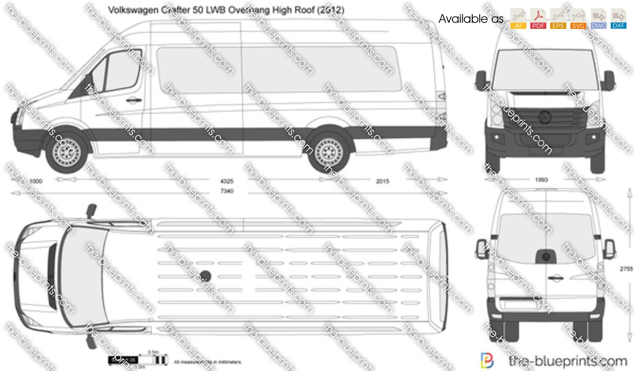 volkswagen crafter 50 lwb overhang high roof vector drawing