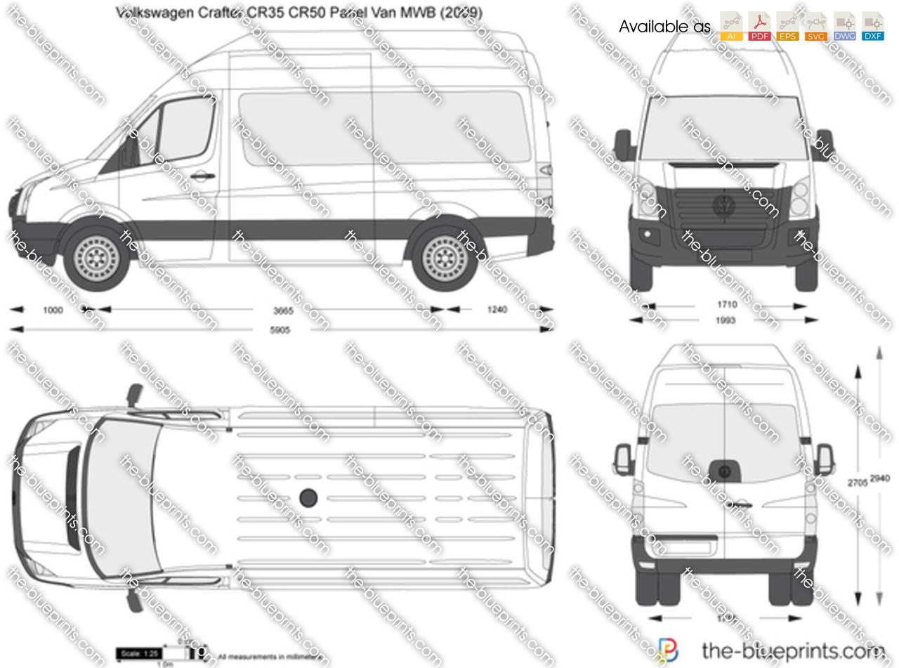 volkswagen crafter cr35 cr50 panel van mwb vector drawing