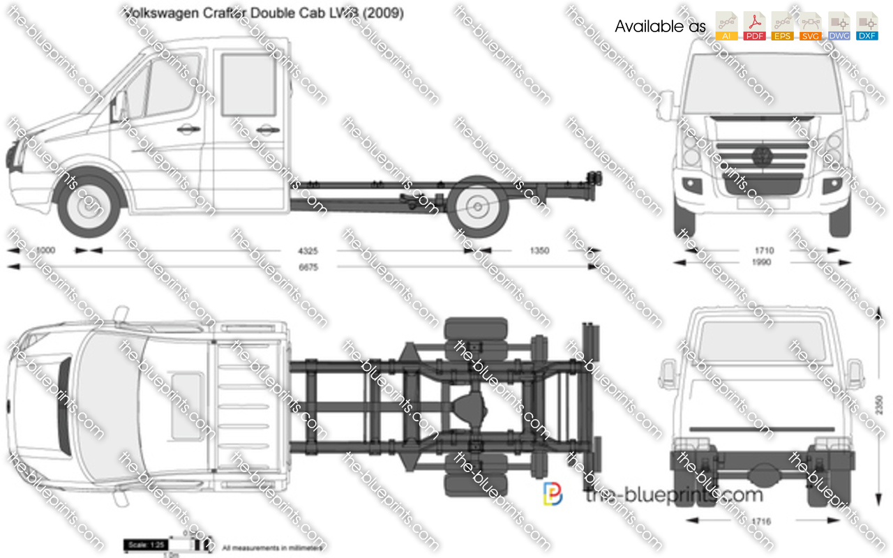 Volkswagen Crafter Double Cab Lwb Vector Drawing