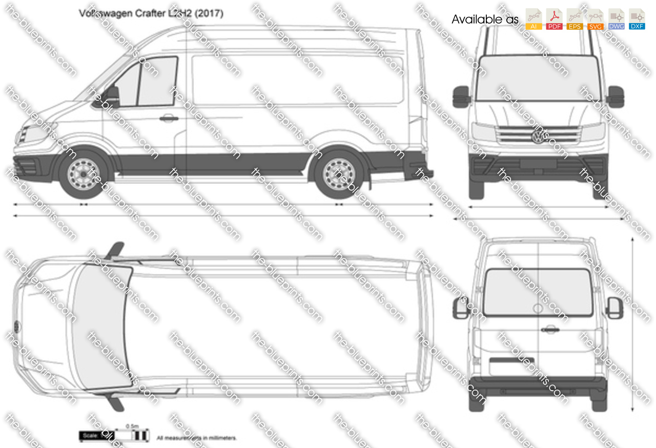 volkswagen crafter l2h2 vector drawing
