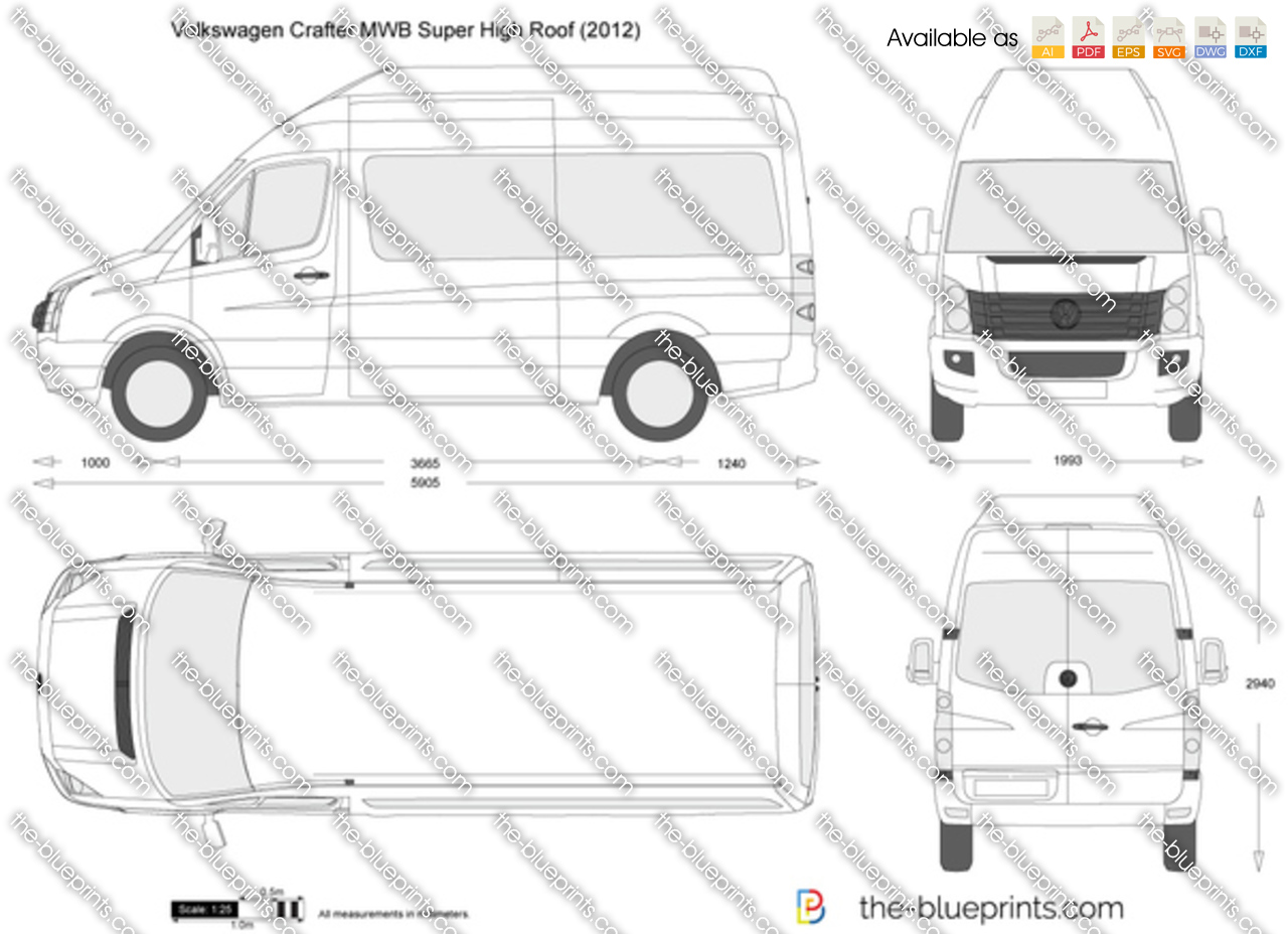 Volkswagen Crafter Mwb Super High Roof Vector Drawing