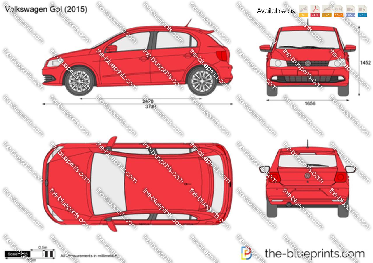 Golf Cart Dimensions >> Volkswagen Gol G6 vector drawing