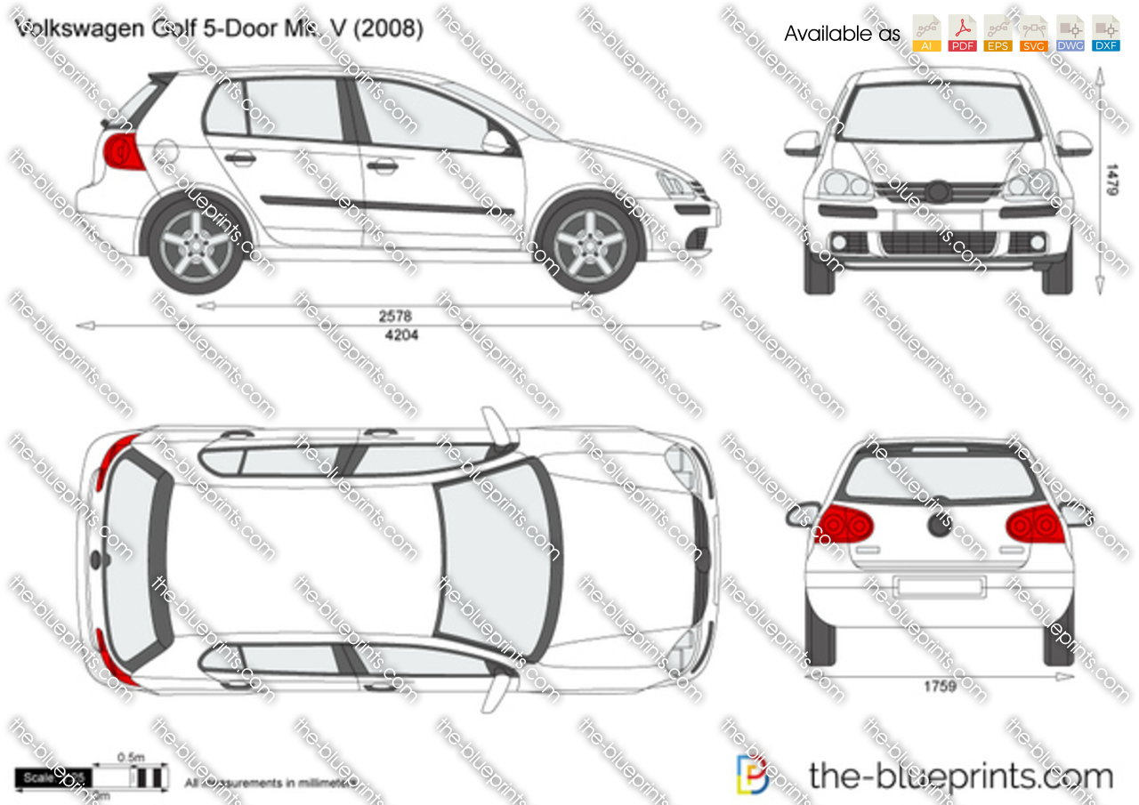 the vector drawing volkswagen golf 5 door mk v. Black Bedroom Furniture Sets. Home Design Ideas