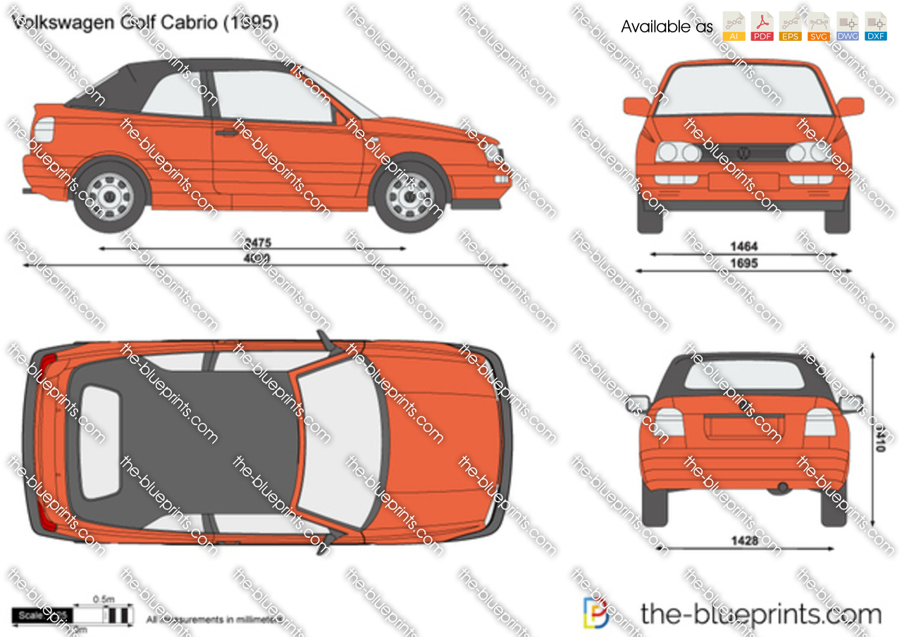 Vw Credit Login >> The-Blueprints.com - Vector Drawing - Volkswagen Golf Cabrio