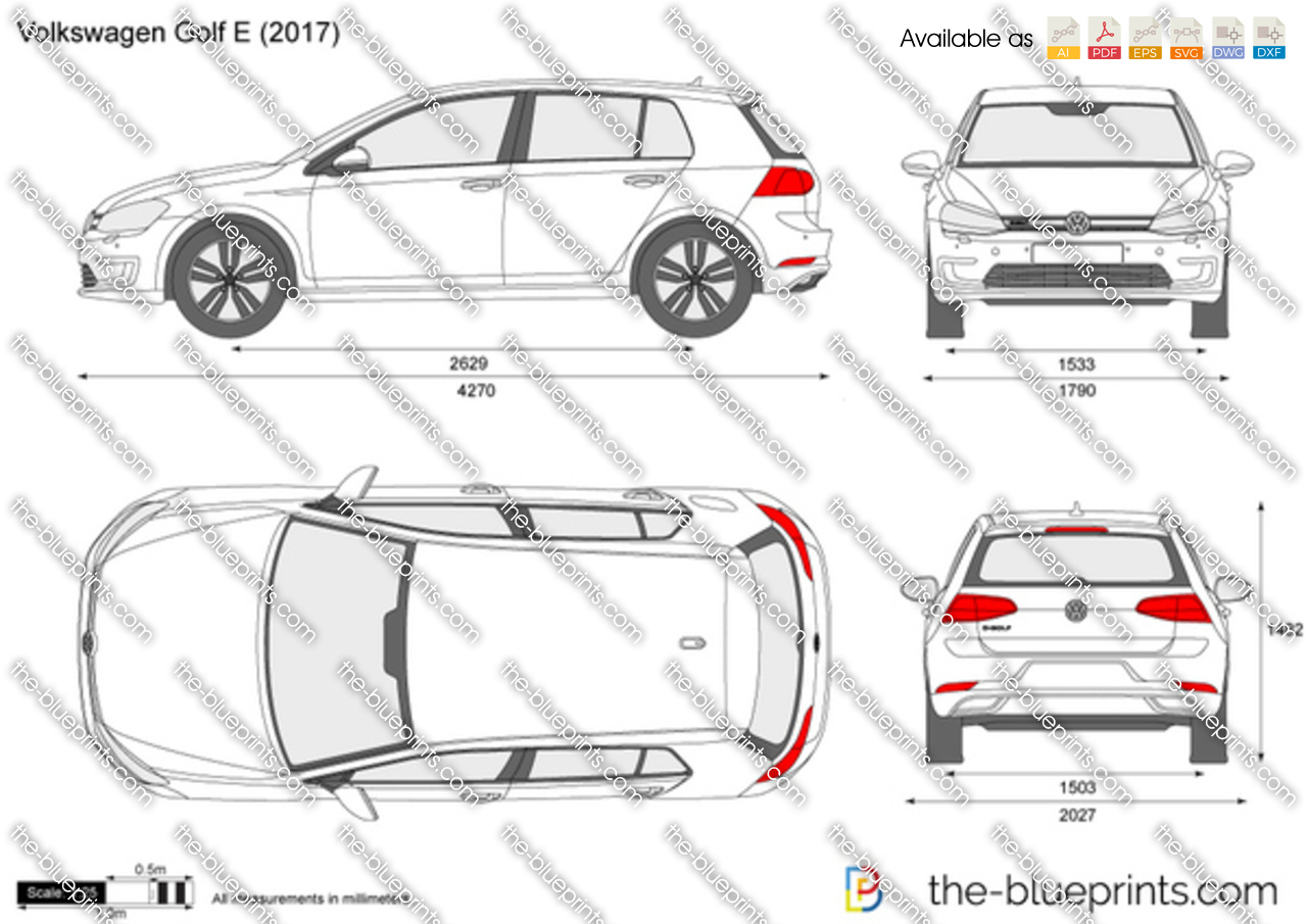 volkswagen golf e vii vector drawing