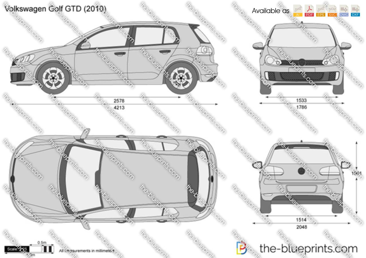 Volkswagen Golf Gtd Vector Drawing