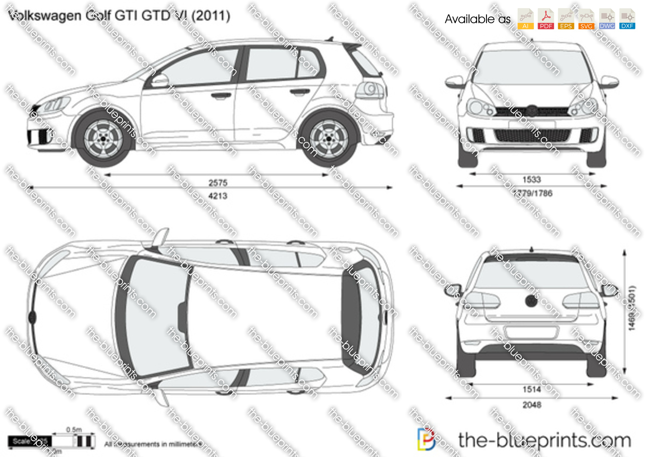 volkswagen golf gti gtd vi vector drawing. Black Bedroom Furniture Sets. Home Design Ideas