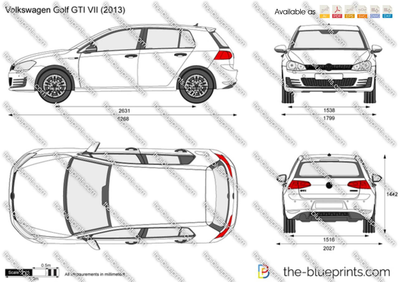 blueprintscom vector drawing volkswagen golf gti vii