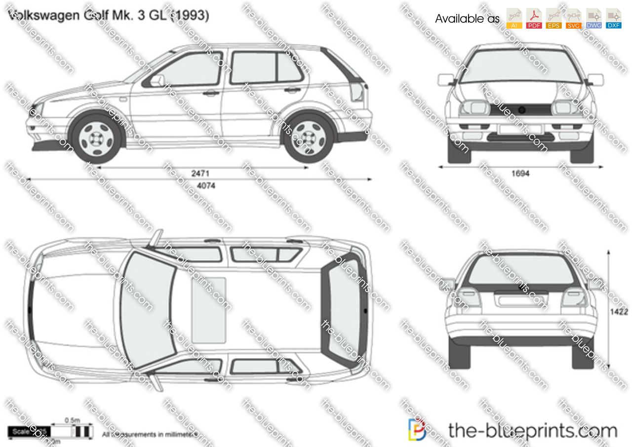 the vector drawing volkswagen golf iii gl. Black Bedroom Furniture Sets. Home Design Ideas