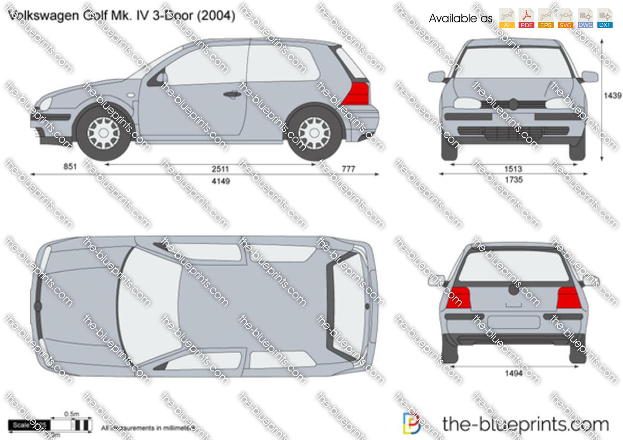 The Blueprints Com Vector Drawing Volkswagen Golf Iv 3