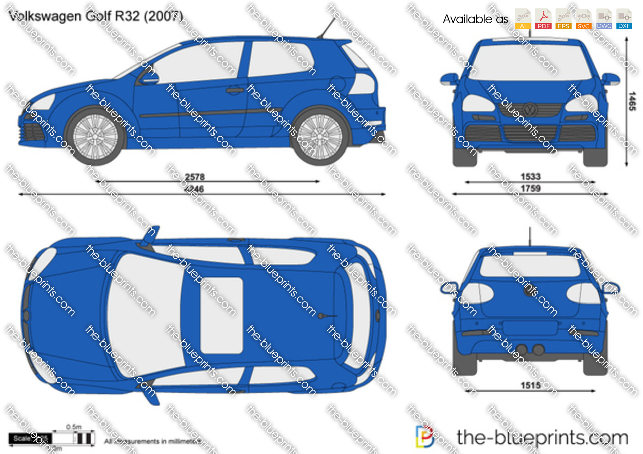 the vector drawing volkswagen golf r32. Black Bedroom Furniture Sets. Home Design Ideas
