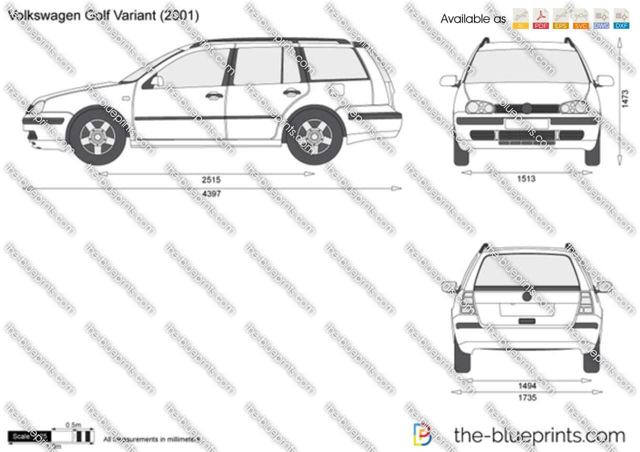 the vector drawing volkswagen golf variant. Black Bedroom Furniture Sets. Home Design Ideas