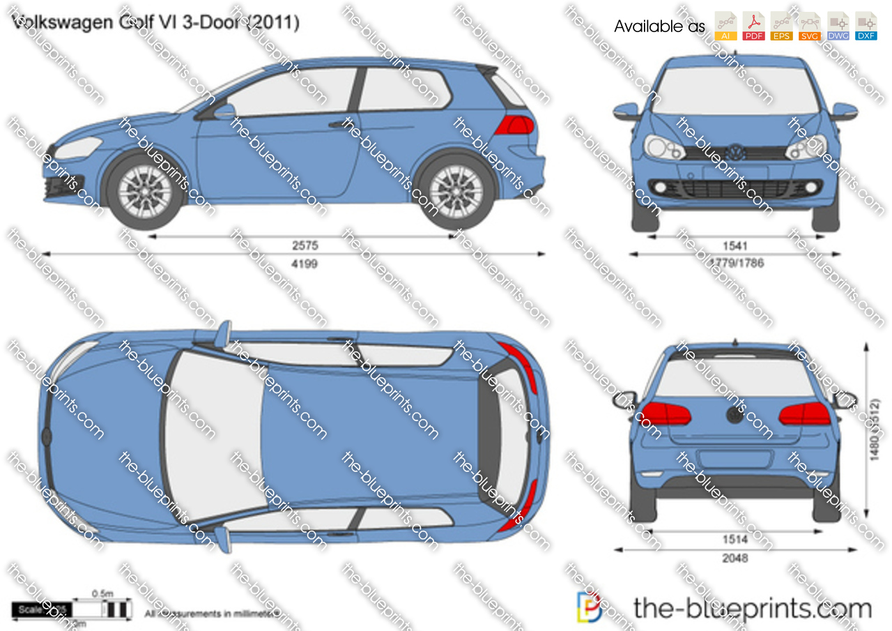 Volkswagen Golf Vi 3 Door Vector Drawing