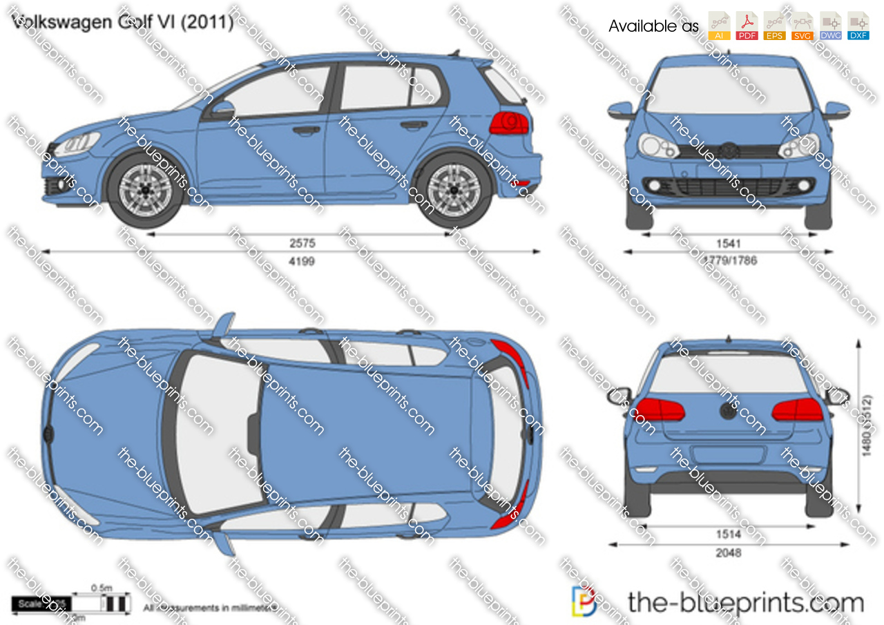 volkswagen golf vi 5 door vector drawing. Black Bedroom Furniture Sets. Home Design Ideas