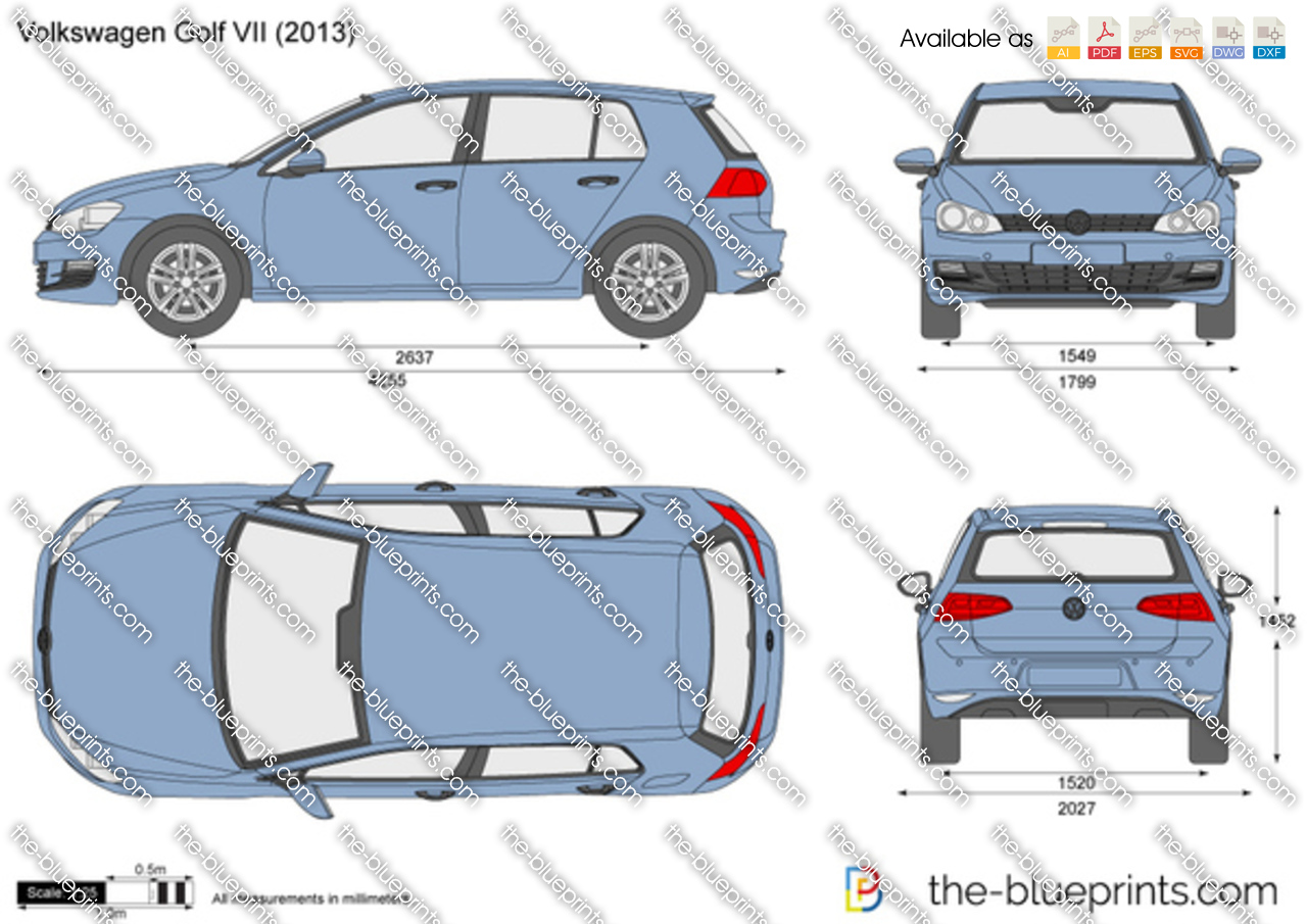 the vector drawing volkswagen golf vii. Black Bedroom Furniture Sets. Home Design Ideas